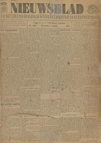 Nieuwsblad het land van Heusden en Altena de Langstraat en de Bommelerwaard 1919-10-01