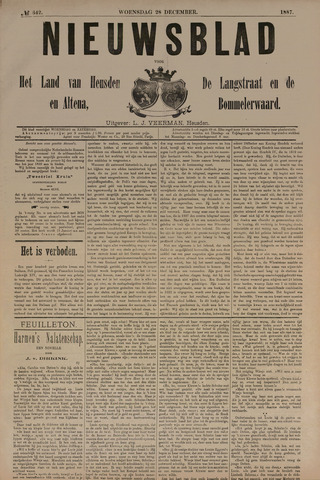 Nieuwsblad het land van Heusden en Altena de Langstraat en de Bommelerwaard 1887-12-28