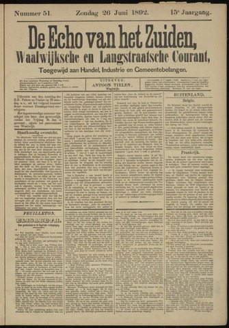 Echo van het Zuiden 1892-06-26