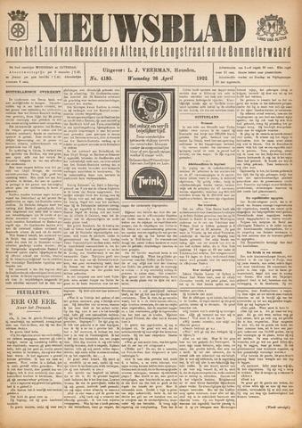 Nieuwsblad het land van Heusden en Altena de Langstraat en de Bommelerwaard 1922-04-26