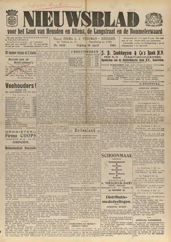 Nieuwsblad het land van Heusden en Altena de Langstraat en de Bommelerwaard 1941-04-25
