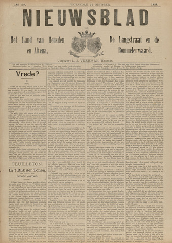 Nieuwsblad het land van Heusden en Altena de Langstraat en de Bommelerwaard 1888-10-24