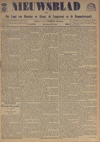Nieuwsblad het land van Heusden en Altena de Langstraat en de Bommelerwaard 1908-06-27