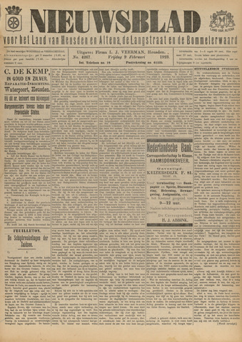 Nieuwsblad het land van Heusden en Altena de Langstraat en de Bommelerwaard 1923-02-09