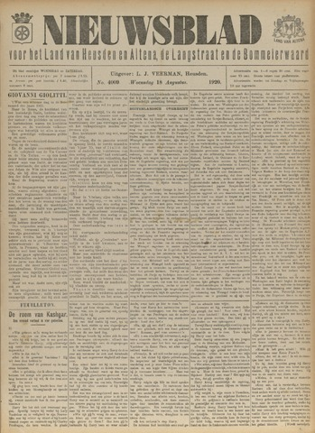 Nieuwsblad het land van Heusden en Altena de Langstraat en de Bommelerwaard 1920-08-18