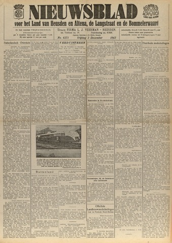 Nieuwsblad het land van Heusden en Altena de Langstraat en de Bommelerwaard 1943-12-03
