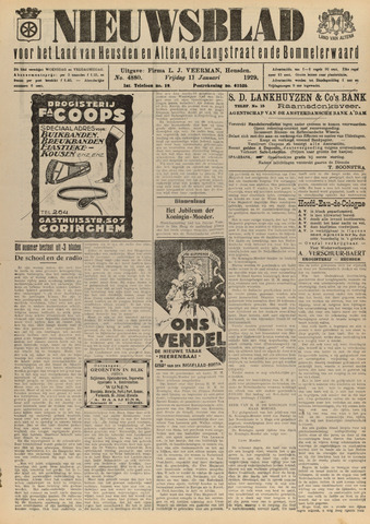 Nieuwsblad het land van Heusden en Altena de Langstraat en de Bommelerwaard 1929-01-11