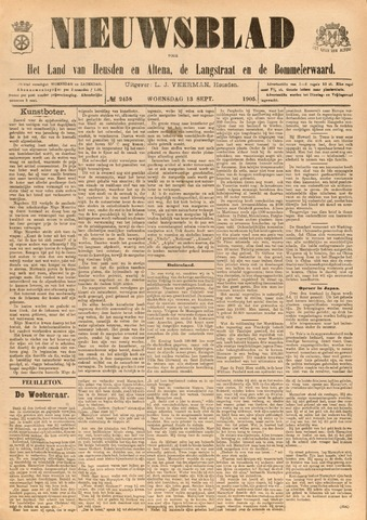 Nieuwsblad het land van Heusden en Altena de Langstraat en de Bommelerwaard 1905-09-13