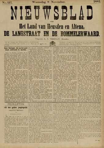 Nieuwsblad het land van Heusden en Altena de Langstraat en de Bommelerwaard 1882-11-08