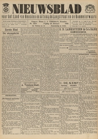 Nieuwsblad het land van Heusden en Altena de Langstraat en de Bommelerwaard 1925-02-13
