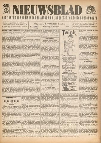 Nieuwsblad het land van Heusden en Altena de Langstraat en de Bommelerwaard 1922-02-01