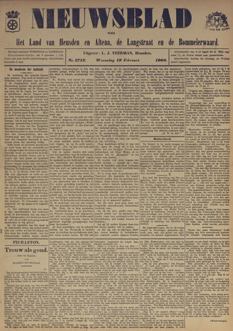 Nieuwsblad het land van Heusden en Altena de Langstraat en de Bommelerwaard 1908-02-19