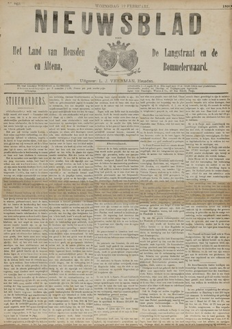 Nieuwsblad het land van Heusden en Altena de Langstraat en de Bommelerwaard 1890-02-12