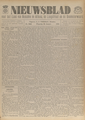 Nieuwsblad het land van Heusden en Altena de Langstraat en de Bommelerwaard 1919-01-22