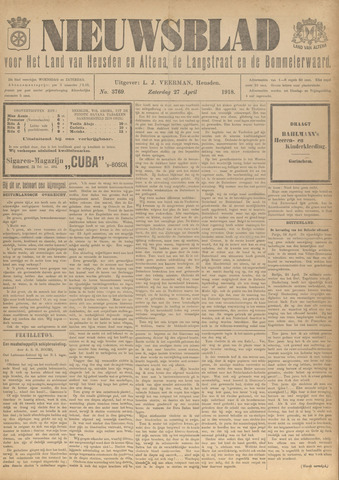 Nieuwsblad het land van Heusden en Altena de Langstraat en de Bommelerwaard 1918-04-27