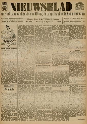Nieuwsblad het land van Heusden en Altena de Langstraat en de Bommelerwaard 1922-09-27