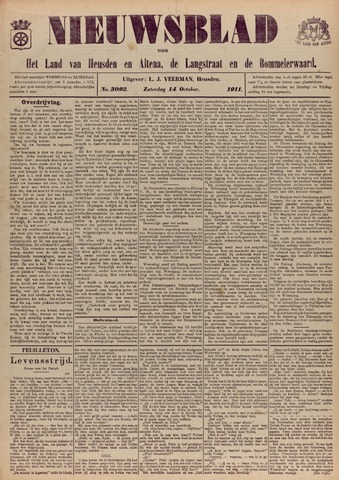 Nieuwsblad het land van Heusden en Altena de Langstraat en de Bommelerwaard 1911-10-14