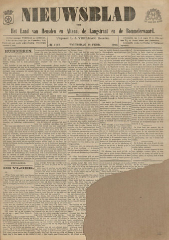 Nieuwsblad het land van Heusden en Altena de Langstraat en de Bommelerwaard 1903-02-18