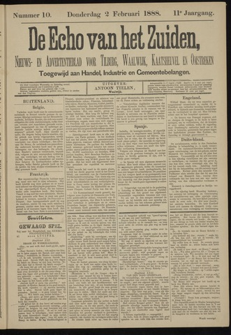 Echo van het Zuiden 1888-02-02