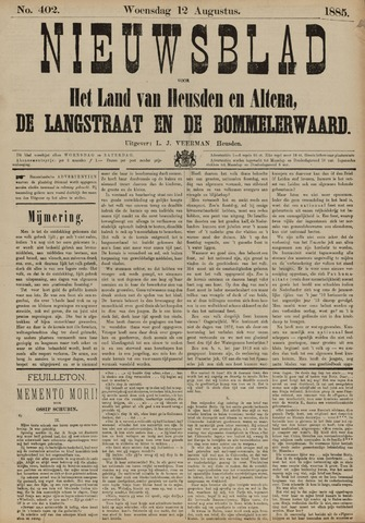 Nieuwsblad het land van Heusden en Altena de Langstraat en de Bommelerwaard 1885-08-12
