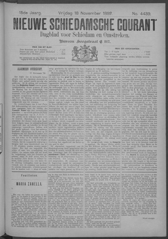 Nieuwe Schiedamsche Courant 1892-11-18