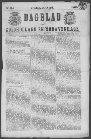 Dagblad van Zuid-Holland 1860-04-20