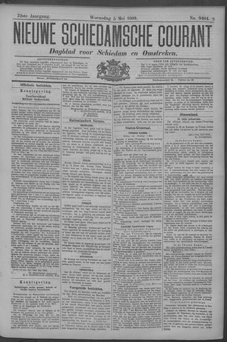 Nieuwe Schiedamsche Courant 1909-05-05
