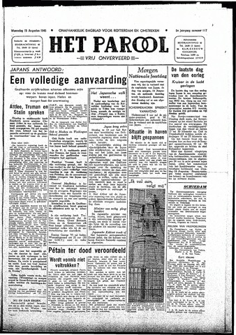 Rotterdamsch Parool / De Schiedammer 1945-08-15