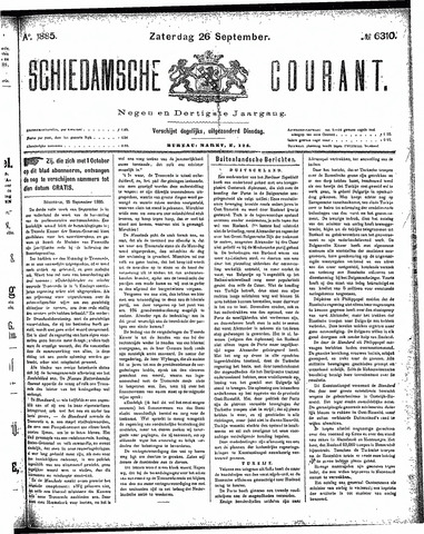 Schiedamsche Courant 1885-09-26
