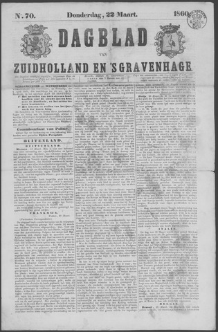 Dagblad van Zuid-Holland 1860-03-22