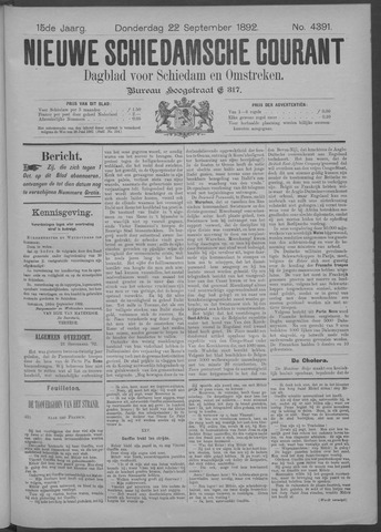 Nieuwe Schiedamsche Courant 1892-09-22