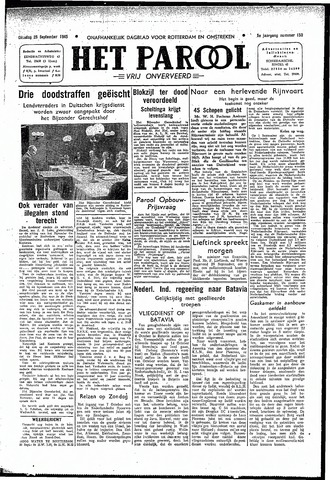 Rotterdamsch Parool / De Schiedammer 1945-09-25