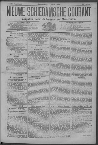 Nieuwe Schiedamsche Courant 1909-04-01