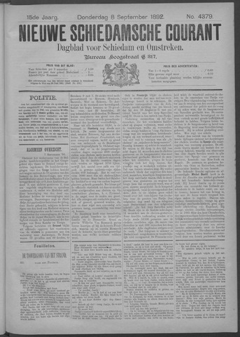 Nieuwe Schiedamsche Courant 1892-09-08