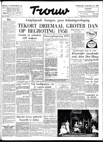 Trouw / De Rotterdammer 1958-09-16