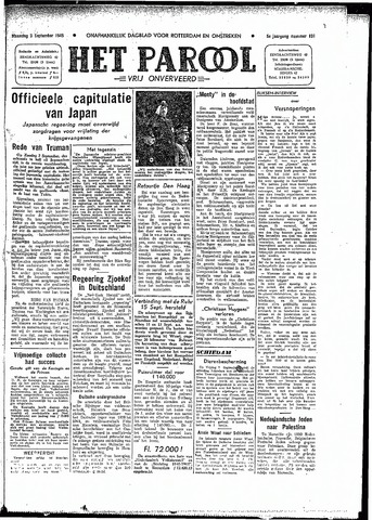 Rotterdamsch Parool / De Schiedammer 1945-09-03