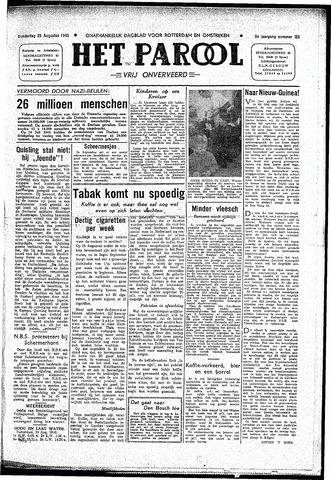 Rotterdamsch Parool / De Schiedammer 1945-08-23