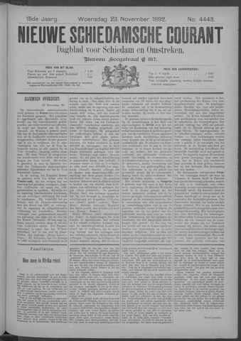 Nieuwe Schiedamsche Courant 1892-11-23