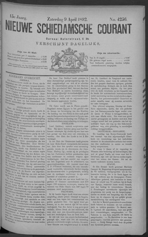 Nieuwe Schiedamsche Courant 1892-04-09