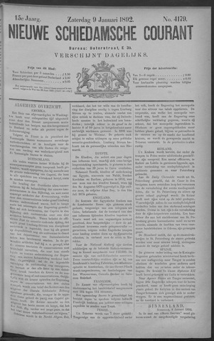 Nieuwe Schiedamsche Courant 1892-01-09