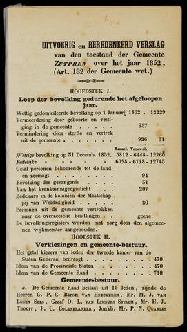 Jaarverslagen gemeente Zutphen 1852-12-31