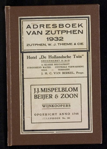 Adresboeken Zutphen 1932