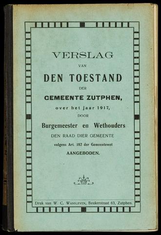 Jaarverslagen gemeente Zutphen 1917-12-31