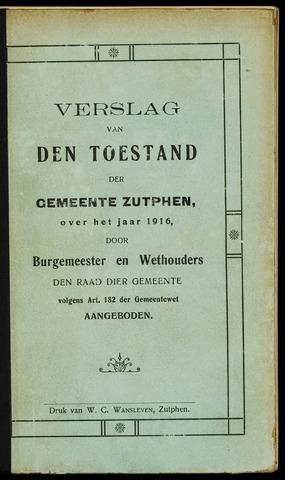 Jaarverslagen gemeente Zutphen 1916-12-31
