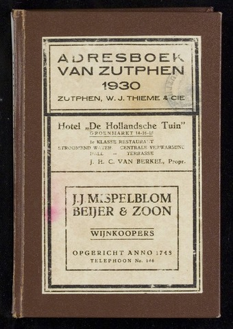 Adresboeken Zutphen 1930