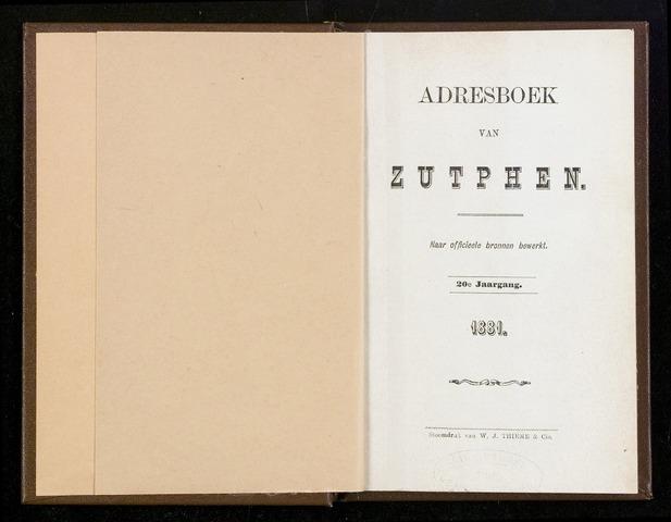 Adresboeken Zutphen 1881