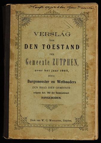 Jaarverslagen gemeente Zutphen 1908-12-31