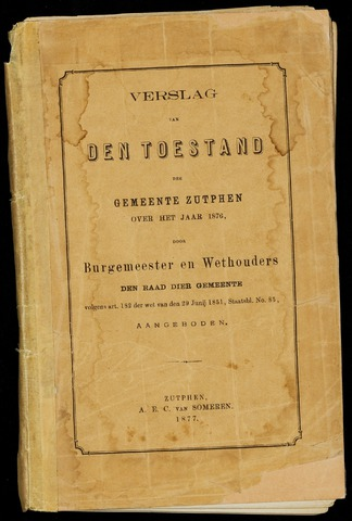 Jaarverslagen gemeente Zutphen (1851-1945) 1876-12-31