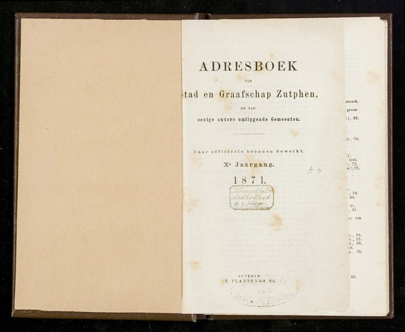 Adresboeken Zutphen 1871