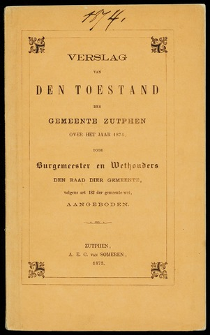 Jaarverslagen gemeente Zutphen (1851-1945) 1874-12-31